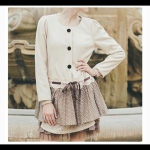 Anthropologie Areve Beige Peacoat with lace